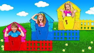 Sasha and Yarik Ride on Truck and Selling Playhouses with Vending Machine
