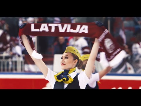 airBaltic crew cheers up Latvian team before World Ice-hockey championships