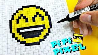 A SMILE PIXEL ART HOW TO DRAW ! СМАЙЛ ЗАЖМУРЕННЫЙ РИСУЕМ ПО КЛЕТОЧКАМ !Handmade Pixel Art СМАЙЛИК