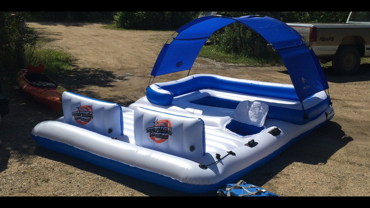 Bestway CoolerZ Tropical Breeze 6-Person Floating Island (Unboxing u0026 Float) - YouTube & Bestway CoolerZ Tropical Breeze 6-Person Floating Island (Unboxing ...