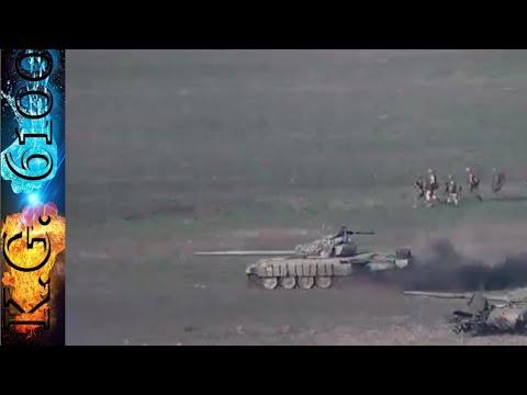 Уничтожение  танков Вооруженных сил Азербайджана на линии соприкосновения в Нагорном Карабахе.