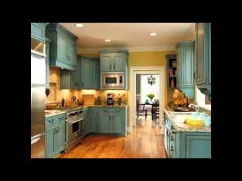 How To Distress White Kitchen Cabinets - YouTube
