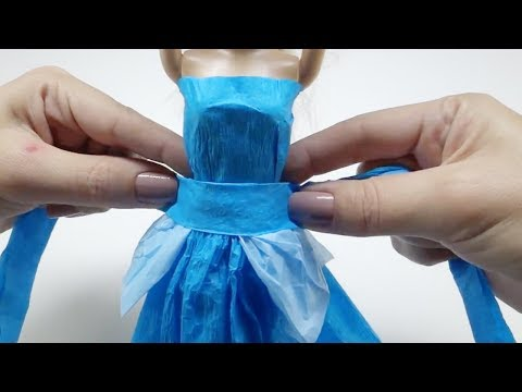 DYI Cinderella Paper Dress - BARBIE HACKS AND CRAFTS