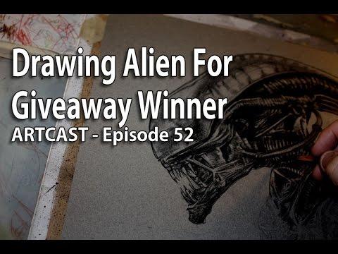 Artcast #52 - Drawing Alien In Color Pencil