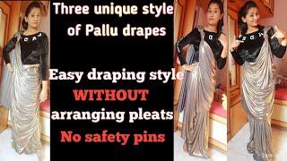 Saree drape for beginners/easy saree drape in unique style/different pallu drapes