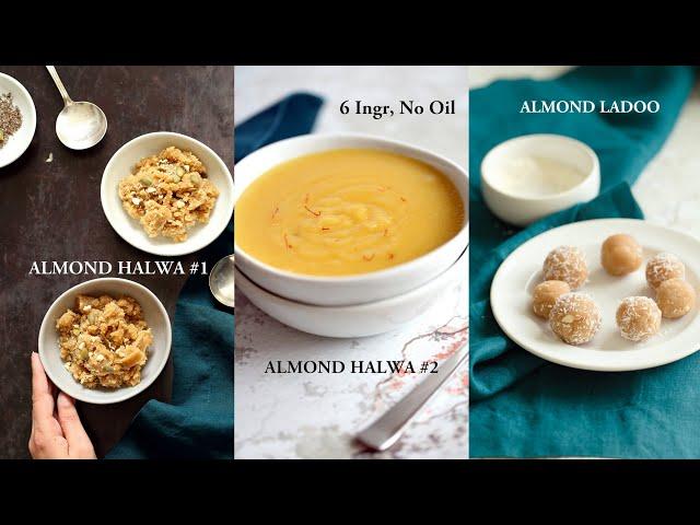 VEGAN ALMOND HALWA (2 Ways) + ALMOND LADOO 6 Ingredients, No Oil! | Vegan Richa Recipes