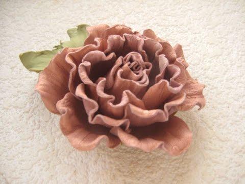 Мастер-класс цветы из кожи. Брошь-заколка Роза.