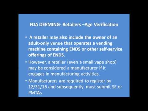 Online Age Verification and the FDA Deeming Rule Regulating Vapor & Tobacco Products