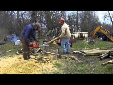 makeing fence posts out of landscape timbers youtube