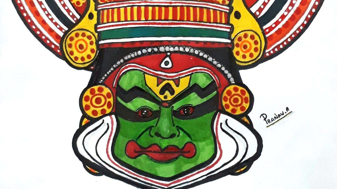 How To Draw Kathakali Onam Special Stayhome Draw Withme Youtube