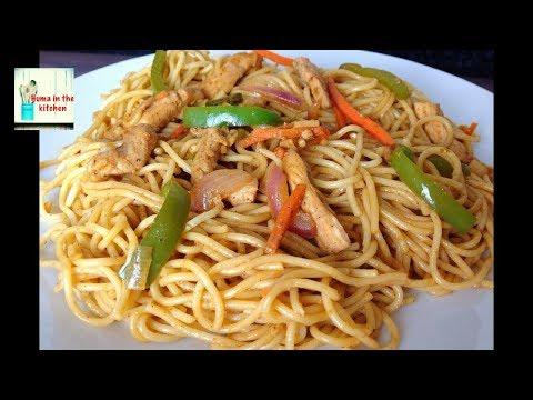 Chicken Spaghetti Recipe – Chicken and Vegetable Spaghetti Recipe by (HUMA IN THE KITCHEN)