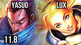 YASUO vs LUX (MID) | 8/0/8, 3.8M mastery, 1100+ games, Legendary | BR Grandmaster | v11.8