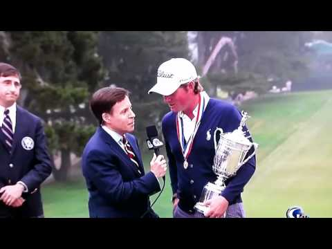 Crazy Guy At Us Open 2012 During Webb Simpson Interview