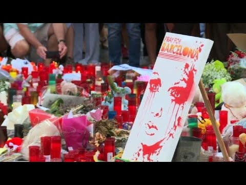 Flowers and candles spread on Barcelona