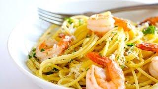 Рецепт.Паста с креветками в чесночном соусе
