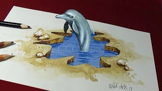 How To Draw A 3D Dolphin | 3d Art | Optical illusion |