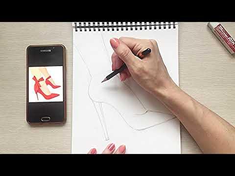 Как рисовать туфли на каблуке карандашом поэтапно