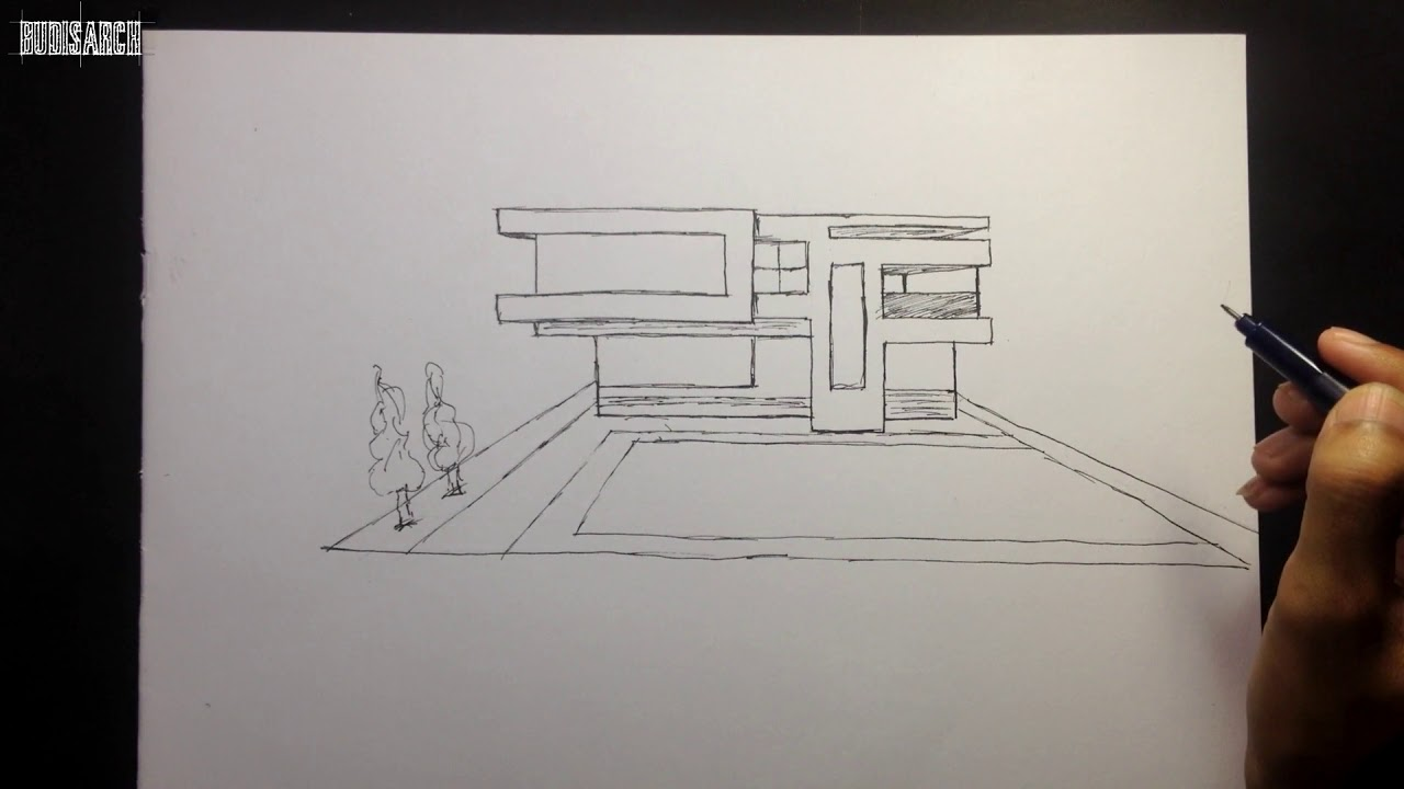 Architectural Sketch Simple Modern House Youtube