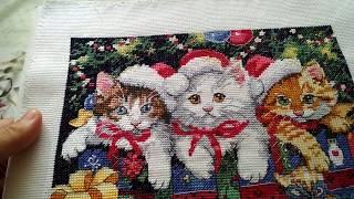 Вышивка крестом.4341 Новогодние котята. Завершина)))
