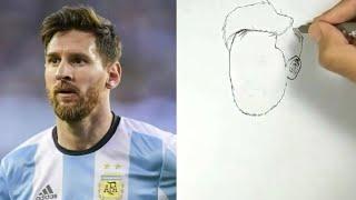Keren!! Menggambar Messi Dengan mudah Dan cepat / How To Draw Messi