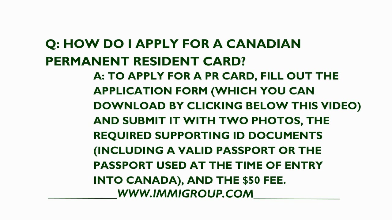 How To Apply For A Canadian Permanent Resident Card Youtube