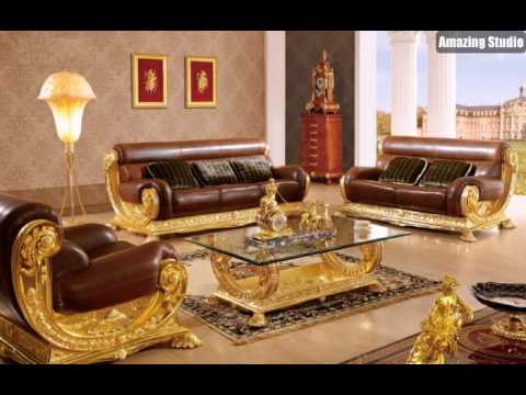 barock stil italienische m bel leder gold tapete mit ornamenten youtube. Black Bedroom Furniture Sets. Home Design Ideas