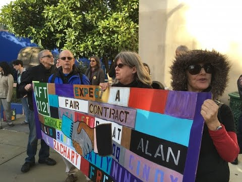 AFT2121 CCSF Faculty Protest For Contract & Against Union Busting At Chancellor's Talk