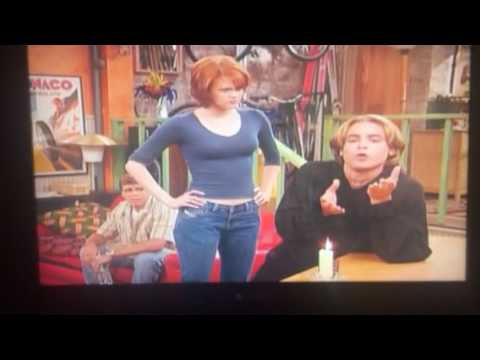 Rachel Maitland Ward pretends to give into Eric's phony sensitivity in Boy Meets World
