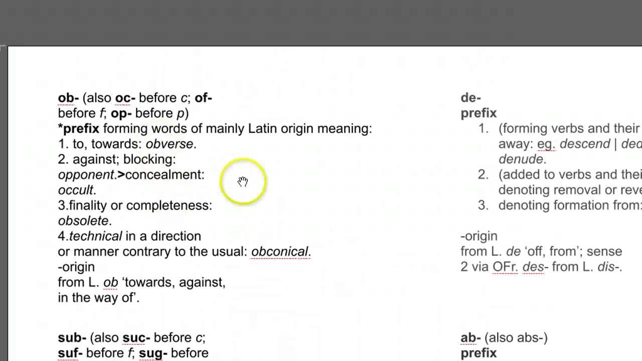 Sensibilise prefix and suffix