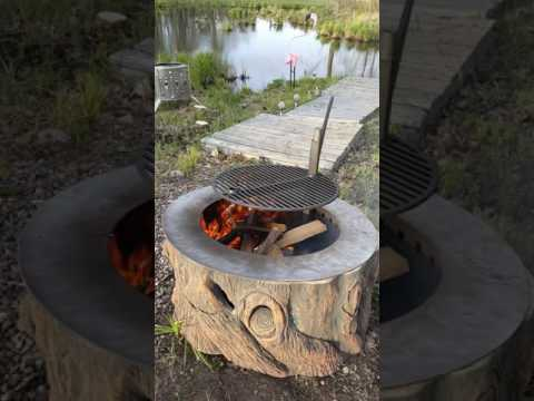 Tree Stump Fire Pit With Stainless Steel Liner @ Grill