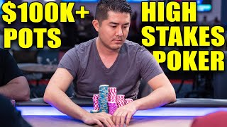 $100,000+ Pots in High Stakes Poker ♠ Live at the Bike!