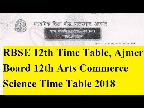 Rajasthan Board 12th Time Table 2018 RBSE Arts, Science, Commerce Date Sheet Here