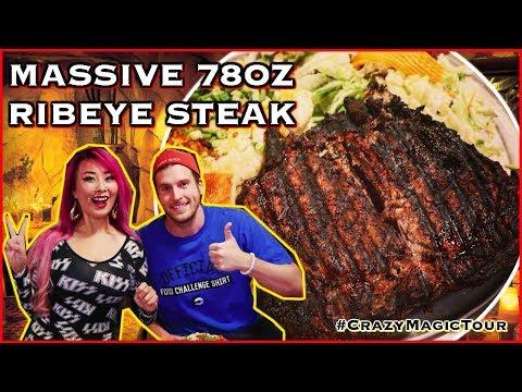 78oz Ribeye Steak Eating Challenge in Billings, Montana | #CrazyMagicTour - RainaisCrazy