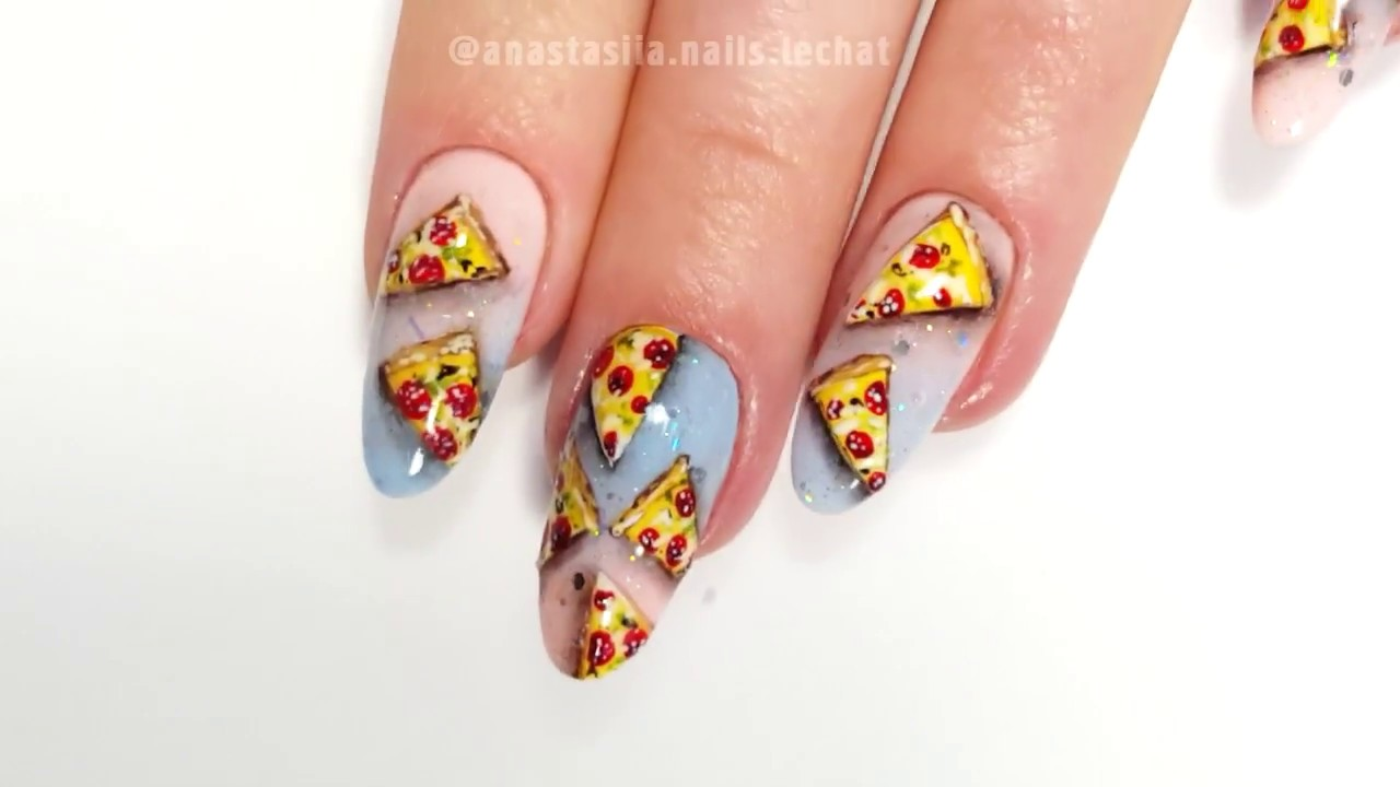 National Pizza Day Nail Art - 1 - YouTube