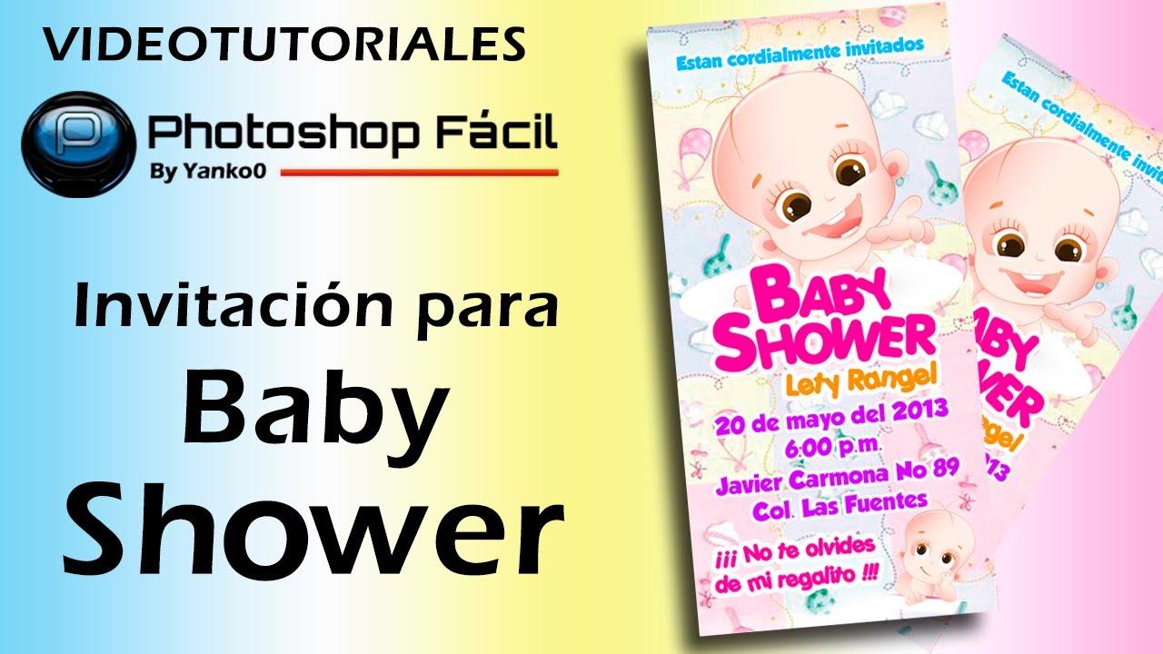Invitacion Para Baby Shower Photoshop By Yanko0 Youtube