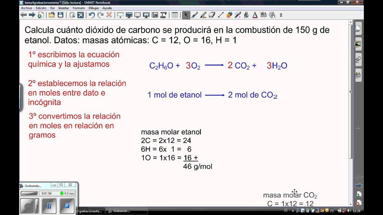 clculo con moles en reacciones qumicas  YouTube