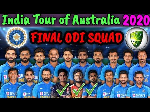 India Vs Australia ODI Series 2020 |  India Final ODI Squad Against Australia 2020 | IND ODI Squad