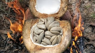 Cooking Cow Intestine in Coconut Fruit | Kdeb Cooking