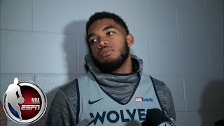 Karl-Anthony Towns gets short sidestepping Jimmy Butler questions | NBA Interviews