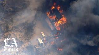 Santa Clarita Valley brush fire burns multiple structures