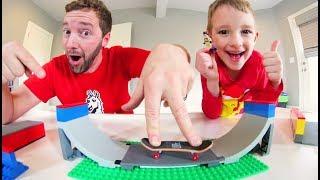 Father & Son LEGO FINGERBOARD SKATE PARK!