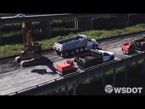 Crews on the westbound US 2 trestle complete their first weekend
