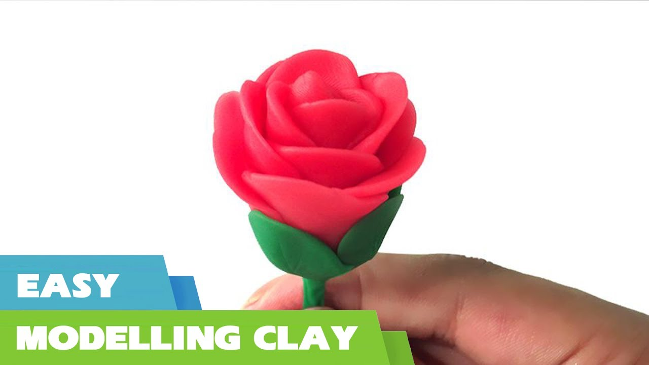 How to make a clay rose flower tutorial - Quick and easy clay ...