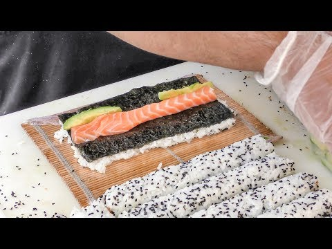 Japanese Sushi Hand Made in Greenwich Market. Street Food of London