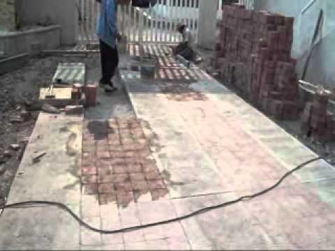 Piso de adocreto rosa en patio de una casa 06 youtube for Pisos para patios