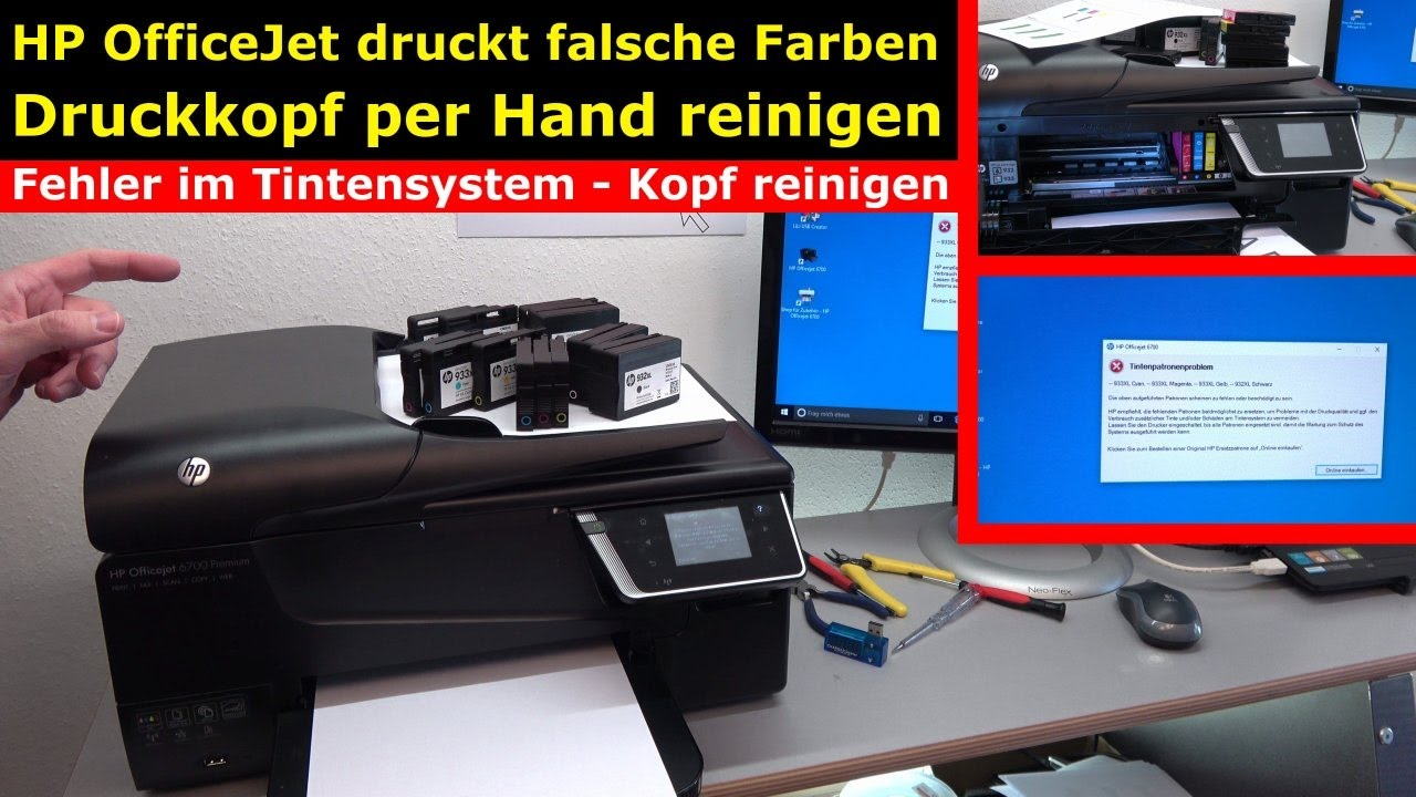hp officejet druckt falsche keine farben druckkopf per hand reinigen 4k video youtube. Black Bedroom Furniture Sets. Home Design Ideas