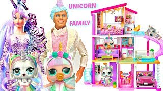 Unicorn Family Moves into Barbie Dream House with Custom LOL Surprise Dolls