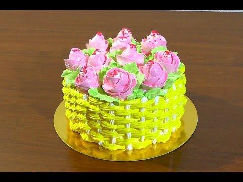 Как сделать торт корзинку из крема видео