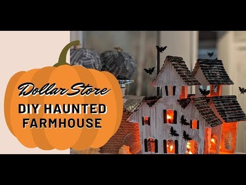 NEW DIY Halloween Haunted Farmhouse Dollar Tree light up How-to