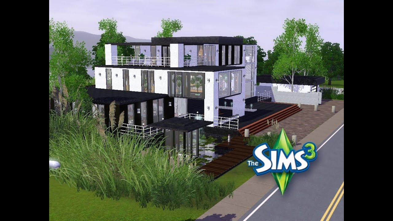 sims 3 haus bauen let 39 s build gro es modernes haus mit penthauswohnung youtube. Black Bedroom Furniture Sets. Home Design Ideas
